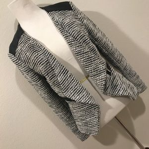 H&M Draped Black White Blazer W/ Leather Details